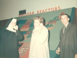 Physics class field trip to Oak Ridge, TN. January 1967.  Sr. Judith, Mrs. White, and Fred White