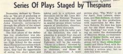Plays Staged by Thespians 02/26/65